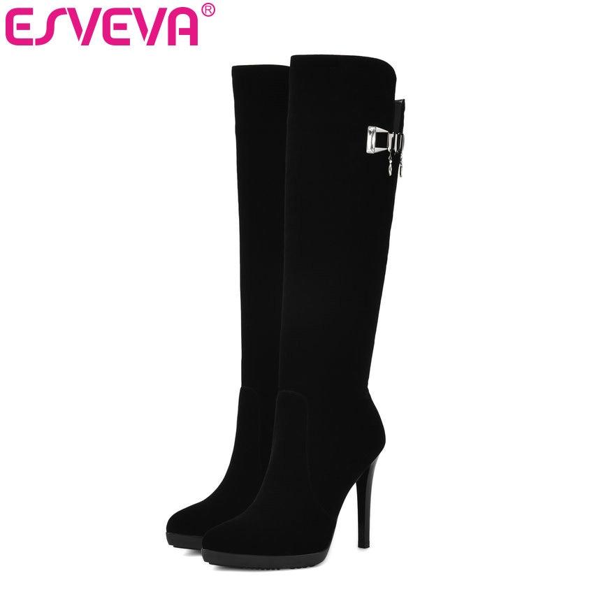 ESVEVA 2018 Elegant Crystal Wedding Women Boots Short Plush Knee-high Boots Scrub Ladies Warm Thin High Heels Boots Size 34-39<br>