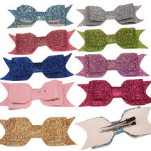 120pcs Thin Bling Powder Bowknot Swallow tail Bow Boutique Hairclip Fahion Hair Accessories Fancy Barrette Hairpin 17 Color