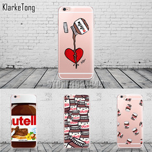 Cute Tumblr Nutella Design Transparente Silicone Case Cover For iPhone 6 6s 5 5s se 7 6plus Cell Phone Cases(China)