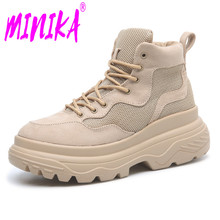 MINIKA 겨울 Woman Motorcycle Boots 캐주얼 Patch Breathale Non-slip 암 Sneakers Lace Up 웨지 Platform Shoes Botas 보낸 Muje(China)