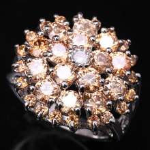 Glittering Orange Champagne Morganite Cubic zirconia Gems 925 Sterling Silver Jewelry Rings Size 6 7 8 9 S1467(China)