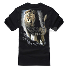 New Street Fashion Super Cool 3D Dark Gothic Lion King Rock Brand men shirts shirt Punk style fitness 100%Cotton(China)