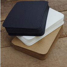 100 Pcs Diy Business Noted Mini Blank Kraft Card Retro Style 350G Paper Thick Black White Brown Paper Word Cards