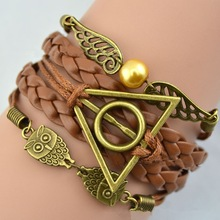 deathly hallows bracelet leather rope vintage retro gold snitch owl wings for men and women Luna Lovegood wholesale