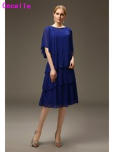 Casual Summer Short Royal Blue Chiffon Mother of the Bride Dresses For Cheap Short Mother's Wedding Party Dresses Knee Length(China)