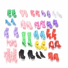 1Set=20 pairs Fashion Cute Colorful shoes for Barbie Doll with Different styles Doll Shoes