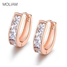 MOLIAM Huggie Hoop Earrings For Women Silver Color Cubic Zirconia Earing Brinco Fashion Trendy Jewellery Christmas Gift MLE118