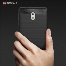 Case Cover For Nokia 3 Nokia3 Shell Brushed Carbon Fiber TPU Anti-drop Rugged Phone Casing Bag for Nokia 3 Phone Cases capa