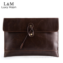 Luxy moon Envelope Hand Bag Men Casual Vintage Clutch Famous Brand PU leather Bags Black Brown Designed Handbag bolso XA57YZ(China)