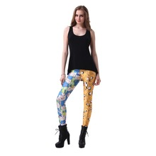 Elastic Casual Pants Digital Printing Yellow and blue mix Pattern Women Leggings 7 sizes Fitness Clothing Free Shipping(China)