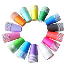 ZLJQ 20pcs Candy Color Paper Cups for Christmas Tableware Party Drinking Accessories Children DIY Crafts Wedding Supplies 7D(China)