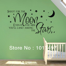 hot sell on ebay shoot for the moon star wall quote sticker for kids boy room decoration,baby boy wall decals free shipping