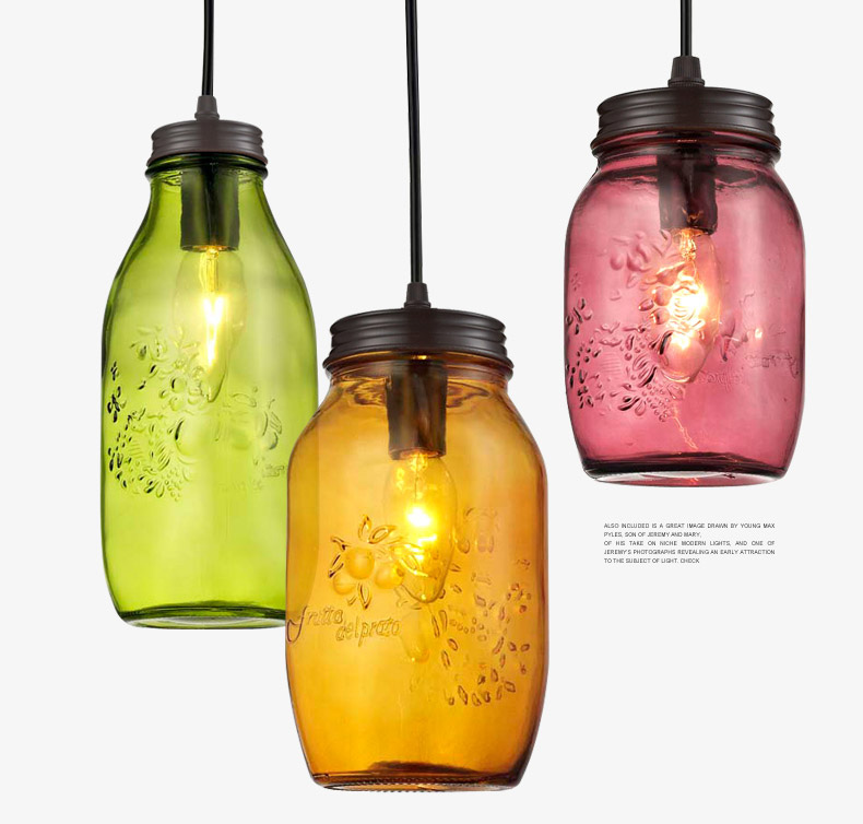 CANDY COLOR WINE BOTTLE HANGING CEILING FIXTURES LAMP LIGHT GLASS PENDANT LIGHTING CAFE BAR STORE COFFEE SHOP<br>