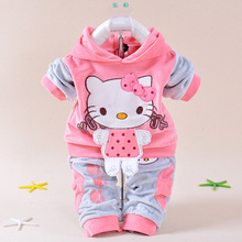 New 2016 Children Clothing Sets Velvet Cartoon Hello Kitty jacket Hoodies Pants Long Sleeve Cute Toddler winter Baby Kids Set