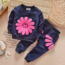 New 2016 Spring Girls Kids Clothes Long Sleeve Sunflower Children Clothing Sets Sunflower Girls Cotton Suits Fashion Kid Clothes