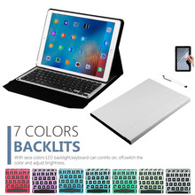 High Quality Removable Bluetooth Backlight Aluminum Keyboard + Synthetic PU Leather Case For iPad Pro 12.9 2015 2017(China)