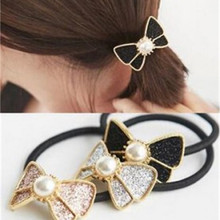 t96 Bow Tie Hairband Fashion Pink Filled Crystal Hair Jewelry Imitation Pearl Rubber Hairwear Women Girl's Ponytail Holder