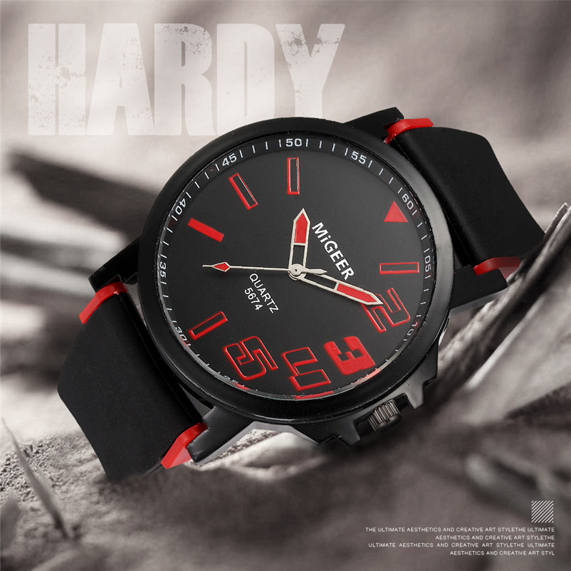 New Listing Saat Erkekler Men's Watch Casual Men Fashion Silicone strap Sport Cool Quartz Analog Hours Wrist Watch Clock 3M24 (3)