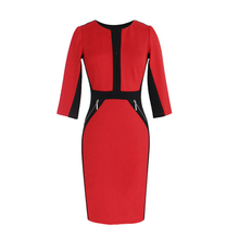 New Cheap Knee Length Patchwork Women Dress Elegant Tunic Office Female Work DressSlim Bodycon Pencil Dresses