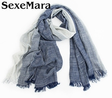Bufandas Mujer 2016 Autumn Winter Scarf Women and Men Striped Cotton Linen Scarfs Vintage Oversized Shawls and Scarves Wrap AW11(China)
