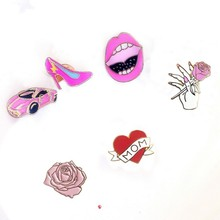 Free shipping Cartoon Cute Love Mom Heart Car Rose flower Red Lip High Heel Shoe Metal Brooch Pins wholesale