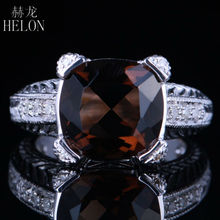 HELON Vintage 12x12mm Smokey Quartz Women's Fashion Jewelry Fine Ring Pave Natural Diamonds Solid 10K White Gold Prong Setting