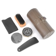 New Outdoor Travel Shoe Shine Care Wooden Polish Cream Brush Kit Shoes Cleaning Tool