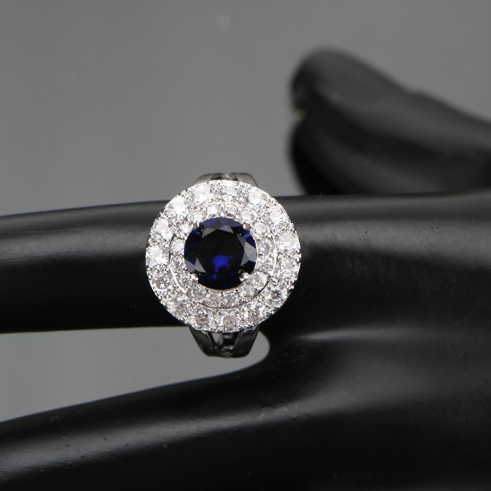 طقم مجوهرات  الأزرق الزركون فضية 925 6