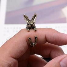 H:HYDE Unique Vintage Fashion Bunny Ring Hippie Mid Finger Rabbit Ring Punk Chic Animal Warp Rings For Men Women Jewelry