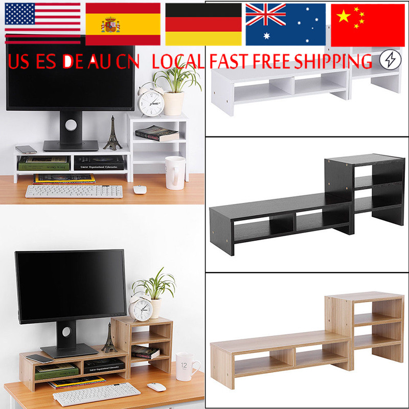 Protect spine and neck Computer Laptop Monitor Riser Stand Desktop with Storage Organizer Wooden computer desk(China)