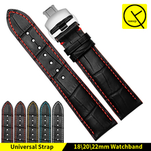 Watchband Calf Leather 18mm 20mm 22mm Watch Strap Band Butterfly Buckle for Tissot 1853 MIDO Bracelet Citizen Seiko Watchstrap(China)