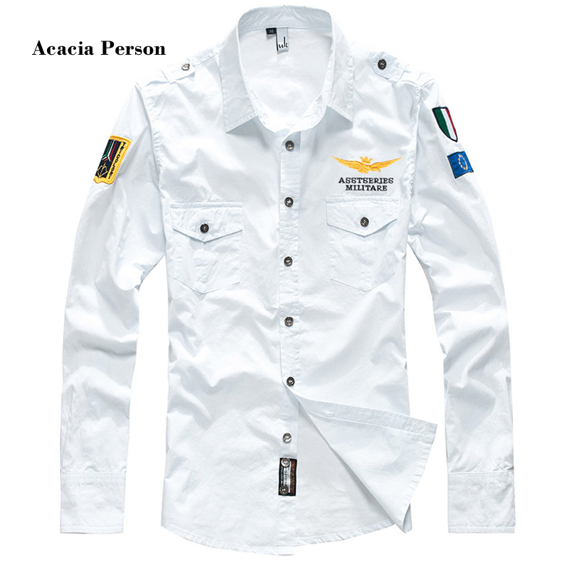 2018 shirt air force one men shirt long sleeve slim fit aeronautica militare men dress shirt 4XL camisas hombre camisa masculina