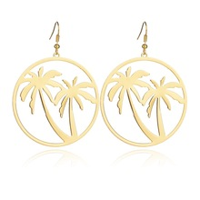 super fashion big star temperament party nightclub Tropical ocean style gold color Coconut trees charm big Drop Earring Women