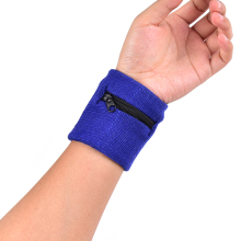 Running Badminton Sweatband Wrist Arm Band Bag With Pocket Cotton Zipper Sport Wristband Gym Fitness Wrist Support Straps Wraps(China)