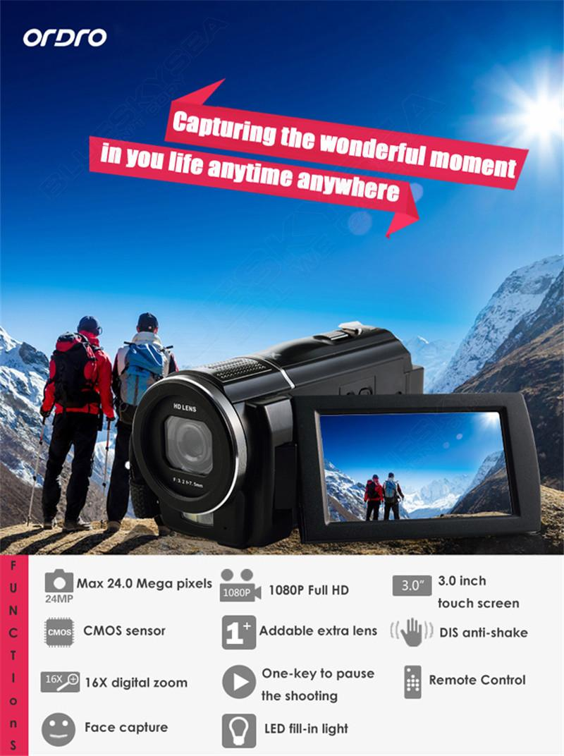 """ORDRO HDV-F5 1080P Digital Video Camera Max 24MP 16X Anti-shake 3.0"""" Touch Screen LCD Camcorder DV With Remote Controller 3"""