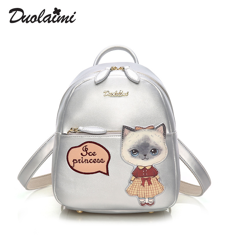 DUOLAIMI 2017 Fashion New Female Bag Quality Pu Leather Women Backpacks Cute Animals Sweet Cat Wind School Baby Small Backpack<br>