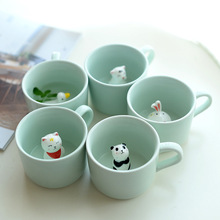 Cute Cartoon Ceramic Mugs Creative Cat Mugs 3D Coffee Tea Milk Mugs Gift For Kids Birthday Gift Mugs(China)