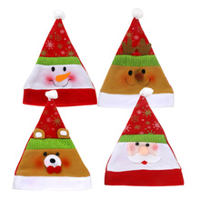 HAOCHU 6Pcs Hats Merry Christmas Festival Party Decoration Gift Santa Caps Family Market Display Window Scene Drop Supplies