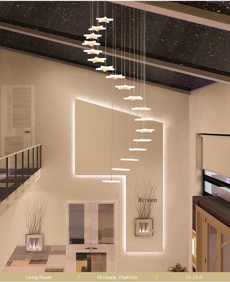 Modern Duplex Staircase LED Pendant Lights Personality 18 Stars Hanging Lamps Minimalist Rotaion Staircase Lamp Living Room Lighting (6)