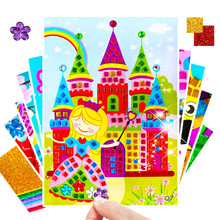 New 5pcs 3D Kids Puzzle DIY Mosaic Art Stickers EVA Cartoon Crystal Sticker Creative Educational Toys For children 16.5*23.5cm