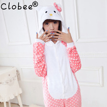 2017 Women Hello Kitty Pajamas Sets Warm Flannel Man Siamese Cute Cartoon Pajamas Winter Pink Dot Nightgowns Plus Size Wholesale