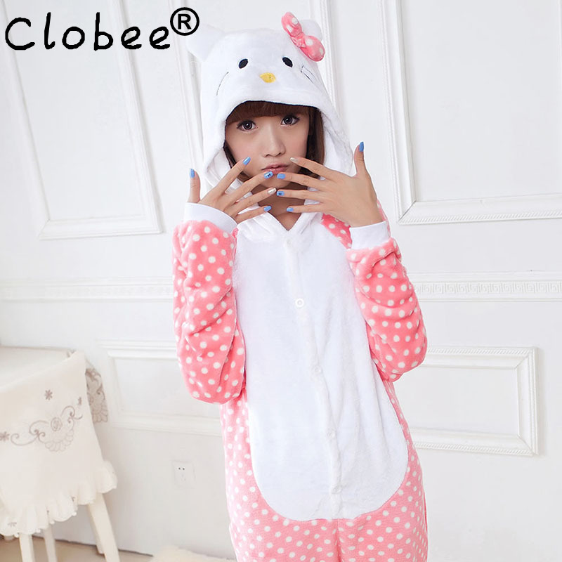 2017 Women Hello Kitty Pajamas Sets Warm Flannel Man Siamese Cute Cartoon Pajamas Winter Pink Dot Nightgowns Plus Size Wholesale(China (Mainland))