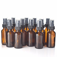 12 X 1Oz New Empty 30ml Amber Glass Spray Bottles with Black Fine Mist Sprayers for essential oils aroma cosmetic containers