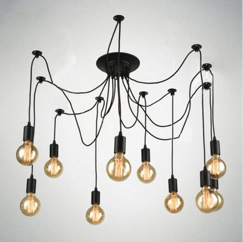 American retro creative living room clothing store restaurant long chandelier Nordic personality office studio spider chandelier<br>