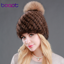 [boapt] natural real mink raccoon fur hats for women winter knitted thick beanies pineapple brand warm skullies female caps(China)
