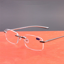 Aluminum Frameless Reading Glasses HD lens Presbyopia Spectacles Rimless Women Men Computer Glasses Classic Unisex Eyeglasses