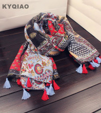 KYQIAO Mexico style ethnic vintage long wide print tassels scarf 2017 women hijab scarf cape shawl muffler wrap birthday gifts