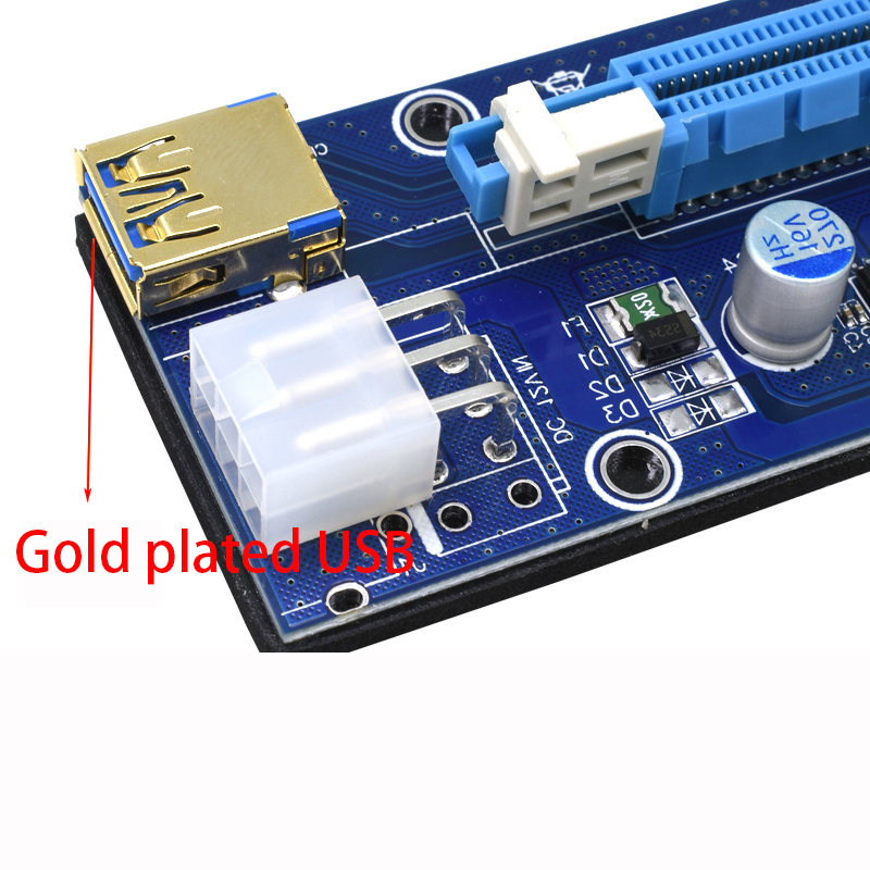 009S PCIE RISER 6PIN 16X for BTC mining with LED USB Gold Port-6 (1)