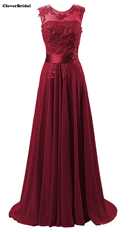 Real pictures in stock sweep train cheap sleeveless burgundy prom dresses 2017 lace+chiffon illusion neck size 2-22W(China)