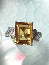 Natural yellow citrine silver ring, 8mm*10mm, deep yellow color and nice cutting fire, pure and clean, romantic style
